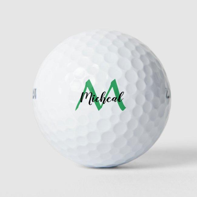 Personalized Sea Green Monogram Add Name Golf Balls