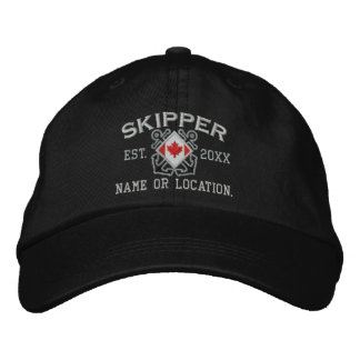Personalized Sea Skipper Nautical Canadian Flag Embroidered Hats