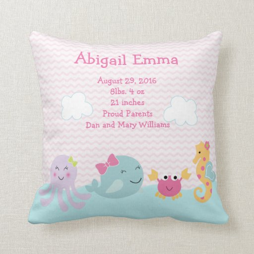 Personalized Sea Sweeties Pillow Keepsake