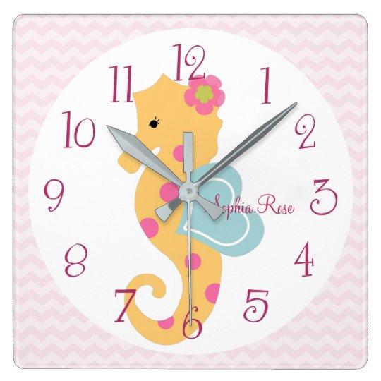 Personalized Sea Sweeties Seahorse Nursery Clock