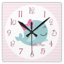 Personalized Sea Sweeties Whale Nursery Clock