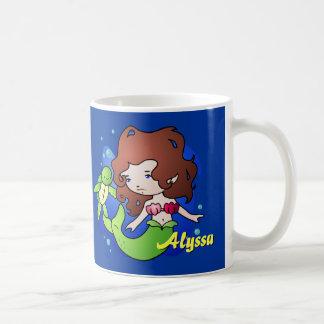 Personalized Sea Turtle and Mermaid Coffee Mug