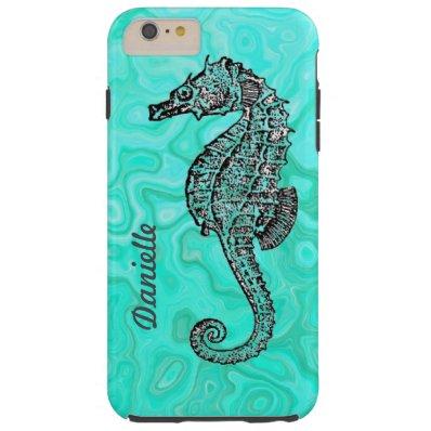 Personalized Seahorse Aqua Splash Turquoise Patt Tough iPhone 6 Plus Case