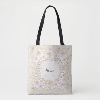 Personalized Seashells and Pearls Tote Bag
