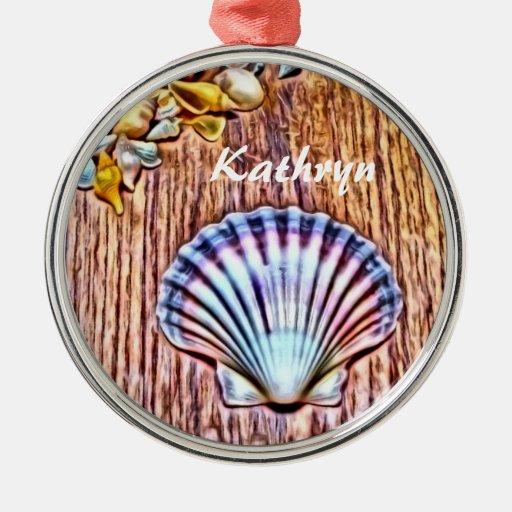 Personalized seashells christmas tree ornament zazzle for Christmas tree ornaments made from seashells