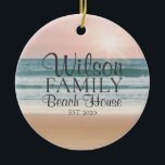 """Personalized Seaside Beach House Ceramic Ornament<br><div class=""""desc"""">This Personalized Beach house ornament is the perfect gift for your seaside loving friends and family.</div>"""