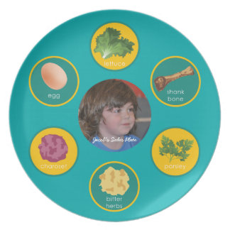 Personalized Seder Plate (Turquoise/English)