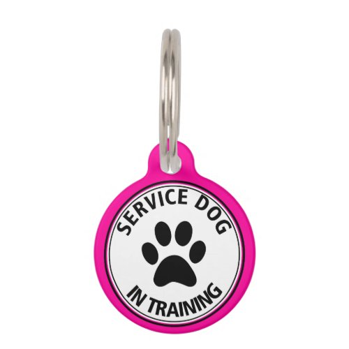 Personalized Service Dog In Training Pink Pet Tag