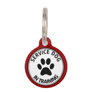 Personalized Service Dog In Training Red Pet Tag