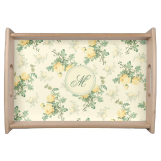 Personalized serving tray monogram floral yellow