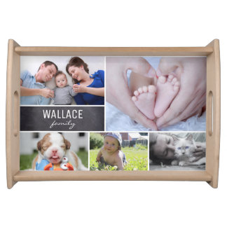 Personalized serving tray with family photos
