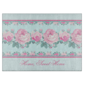 Personalized shabby chic glass cutting board