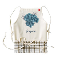 Personalized Shabby Chic Vintage Blue Roses Apron