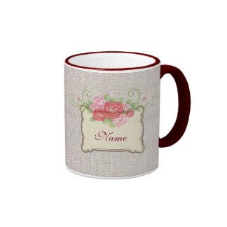 Personalized Shabbychic Roses Linen Look Ringer Mug