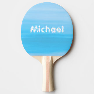 Personalized shades of light blue ocean waves Ping-Pong paddle