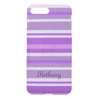 Personalized Shades of Purple Linen Look Stripes iPhone 7 Plus Case