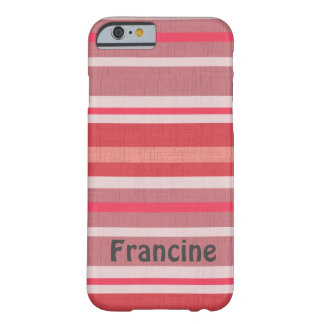 Personalized Shades of Red and Pink Striped Design Barely There iPhone 6 Case