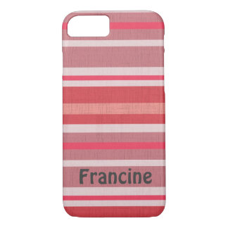 Personalized Shades of Red and Pink Striped Design iPhone 7 Case