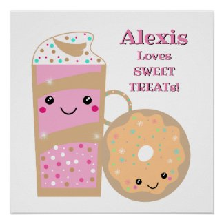 Personalized Shake And Donut Sweet Treats Poster