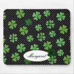 Personalized Shamrock and Four Leaf Clover Mousepad