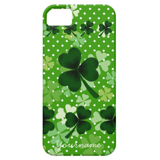 Personalized Shamrock and Polka Dot iPhone SE/5/5s Case
