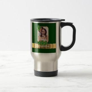 Personalized shamrock 15 oz stainless steel travel mug
