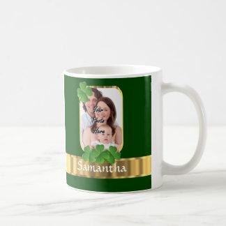 Personalized shamrock classic white coffee mug
