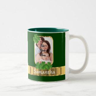 Personalized shamrock Two-Tone coffee mug
