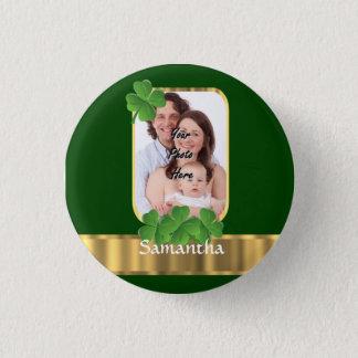 Personalized shamrock pinback button