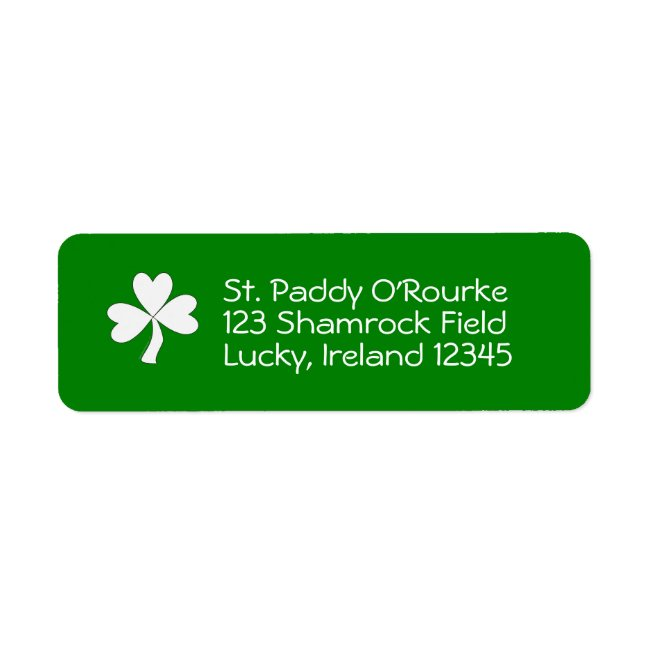 Personalized Shamrock Return Address Labels Green