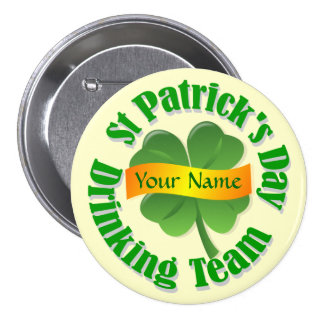 Personalized shamrock St Patrick's 3 Inch Round Button
