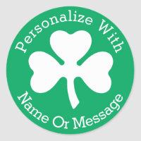 PERSONALIZED Shamrock St Patricks Day Classic Round Sticker