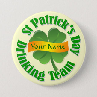 Personalized shamrock St Patrick's Pinback Button