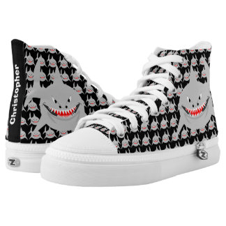 Personalized Shark Black Printed Shoes