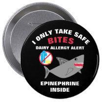 Personalized Shark Dairy Allergy Alert Pin