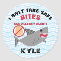Personalized Shark Egg Allergy Alert Warning Classic Round Sticker