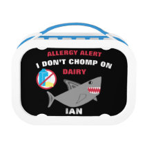 Personalized Shark Kids Dairy Allergy Alert Lunch Box