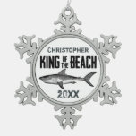Personalized Shark King of the Beach Ornament