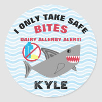 Personalized Shark No Dairy Allergy Alert Labels