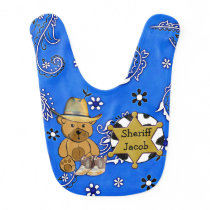Personalized Sheriff Teddy Bear Cowboy Baby Bib