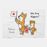 Personalized Shiba Inus and Japanese Flags Towel