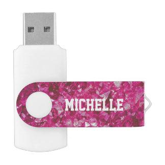 Personalized shiny pink gemstone USB flash drive Swivel USB 2.0 Flash Drive