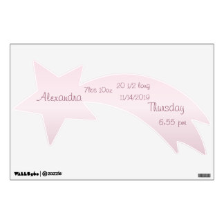 Personalized Shooting Star Baby Stats Wall Decal