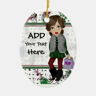 Personalized Shopping Diva Double-Sided Oval Ceramic Christmas Ornament