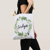Personalized shopping tote | green leaves