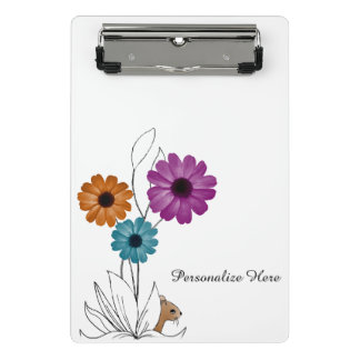Personalized Shy Mouse Hiding Amongst Flowers Mini Clipboard