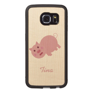 Personalized Shy Pink Pig Wood Phone Case