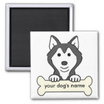 Personalized Siberian Husky 2 Inch Square Magnet