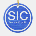 Personalized SIC NJ Sea Isle City New Jersey Beach Double-Sided Ceramic Round Christmas Ornament