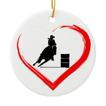 Personalized Silhouette Barrel Racing Horse, Heart Ceramic Ornament